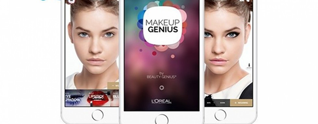 Two images of women on the screen on an iPhone, one on the left with no makeup, one on the right with slight eye and lip makeup,. In the middle the front screen of an iPhone with the MakeUpGenius logo.