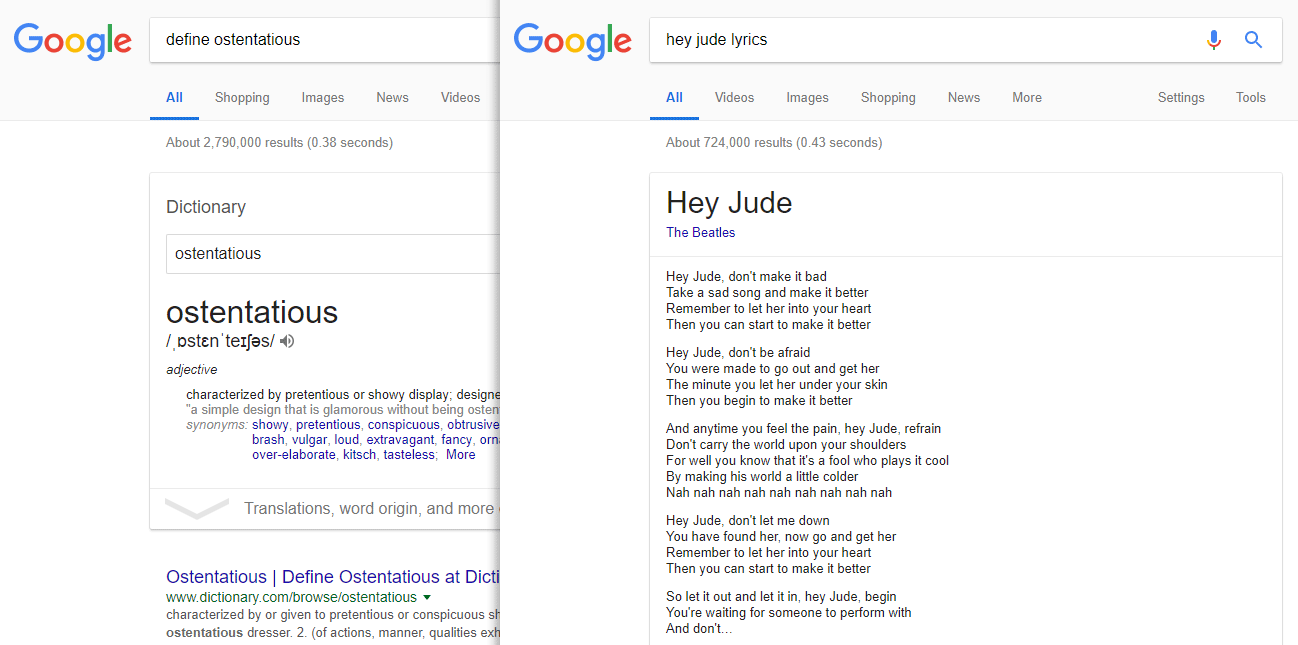 "Featured Snippets for the Google search queries ""define ostentatious"" and ""hey jude lyrics""."