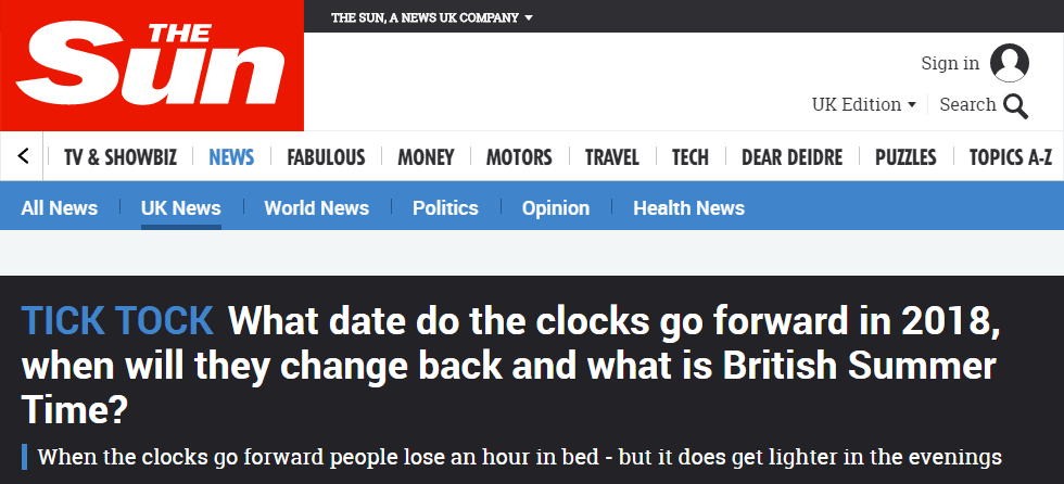 A screenshot of an article on The Sun newspaper website about British Summer Time, with three keywords stuffed into the headline.
